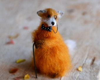 Knitted fox art doll home decor Red fox stuffed animal knit fox gift for her plush toy foxes gift ideas soft sculpture gift woodland animal