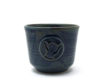 Shaka Shaving Bowl, Blue Hang Loose Shave Cup, Aloha Spirit Handmade Wet Shaving Pottery Gifts for Surfer Men Husband Gift - Ready to Ship