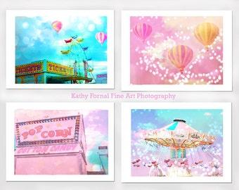 Carnival Prints, Baby Girl Nursery Decor, Pink Aqua Carnival Photos, Ferris Wheel, Carnival Balloons, Cotton Candy Ticket Carnival Prints