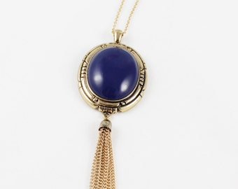 Blue Tassel Necklace, Gold Tassel, Statement Jewellery, Midnight Blue Stone