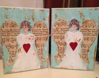 Angel Hymnal Painting, angel art, guardian angel art, hymnal art, angel wings