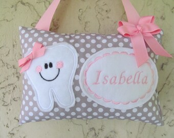 Tooth Fairy Pillow Personalized Gray Polka Dot Grey Polka Dot with pink