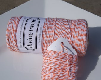 Bakers Twine - Divine Twine - 100% Cotton -  One Color - Your Choice of Color and Length - Orange Shown