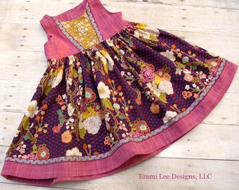 Size 3T Ready to Ship,Art Gallery,Girls Dress,Little Girl Dress,Toddler Dress,Photo,Burgundy,Wine,Gold,Liberty of London,Floral,Thanksgiving