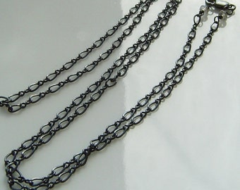 Long Chain Necklace,  24 or30 inches, Oxidized Black, Sterling Silver, Gift, Black Chain, Gunmetal Chain