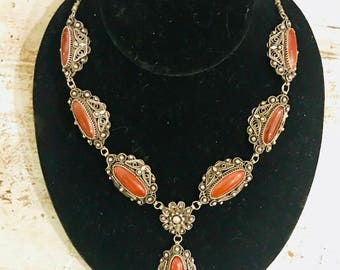 Beautiful RARE Sterling Silver Filigree Carnelian Vintage Art Nouveau Renaissance Necklace