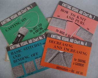 Vintage Knitting Visual Aid, How-To / Learn-To Knit Instructions, Basic Stitches, Teaching Resource Guide/ Chart, Home Ec Educational 1960s