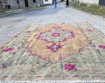 Turkish rug pastel rug vintage rug old rug anatolian rug 8.5ft_6.ft