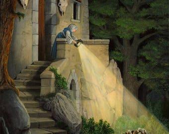 """Original painting """"Le Petit Poucet"""" from an engraving by Gustave Doré - 50x61cm"""