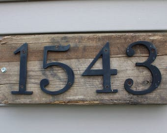 Rustic reclaimed wood house number sign
