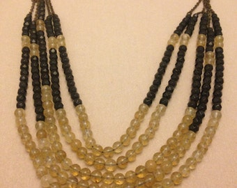 Vintage Quartz and Black Bead Necklace