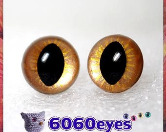 1 Pair Gold on gold hand painted safety eyes, cat eyes, plush eyes, animal eyes, craft eyes, amigurumi eyes, toy eyes, plastic eyes