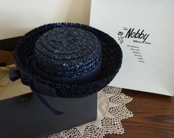 Vintage 1960s Navy Straw Gigi Boater / Tweens / Hats