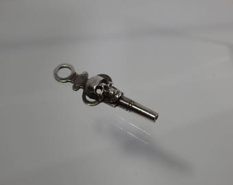 Antique Victorian Silver & Nickel-Plated Brass Pocket Watch Key Fob With Memento Mori Skull