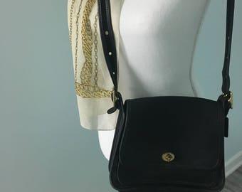 Genuine Coach Black Leather Shoulder Bag Adjustable Strap Excellent Condition Mothers Day Gift