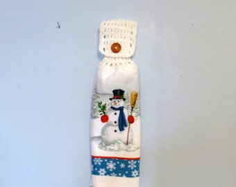 Hanging Kitchen Towel Crochet Top Doubled White Snowman Winter Choice of White or Blue Top
