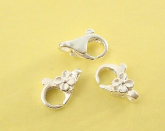 3 Daisy Flower Lobster Clasp, Sterling Silver .925, 8.2x12.2mm, SCL112