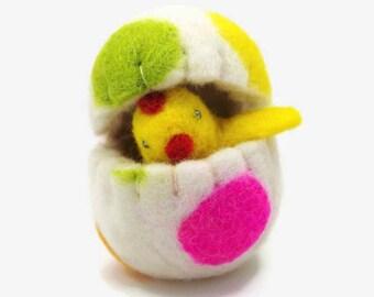 Easter Egg Ornament, Yellow Chick in a Felt Egg, Waldorf Easter, Polka Dotted Easter Egg,  Easter Gift, Easter Basket Gift,