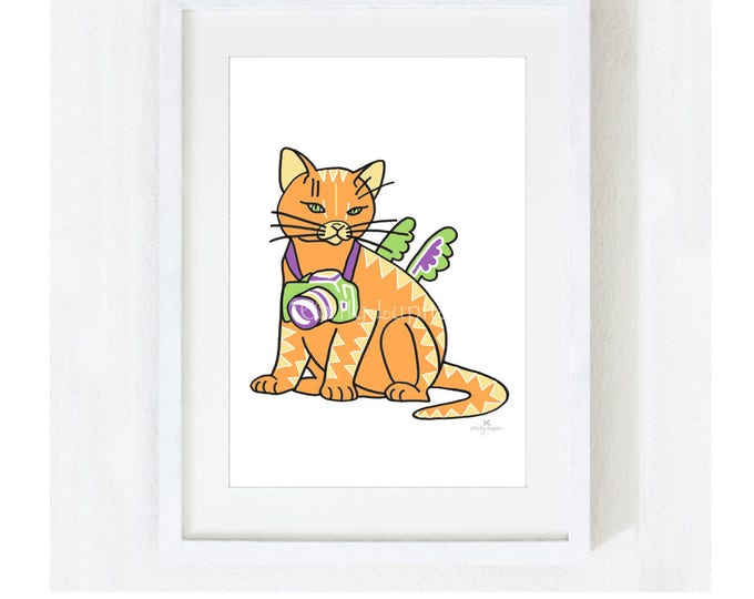 """Illustration Art Print """"Cat With A Camera"""" / Cat Pet Portrait / Photography Animal Tiger / Nursery Baby Shower Gift / Pet Memorial Loss"""