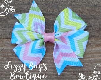 Hair Bows~Pastel Hair Bow~Easter Hair Bow~Chevron Hair Bow~Pastel Hair Bow~Hairbows~Pastel Hairbows~Small Hair Bows~Pigtail Hair Bows~Bows