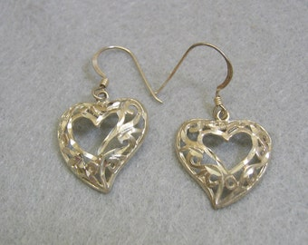 Sterling Openwork Heart Pierced Earrings