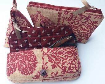 Makeup Pouch * Glasses case * Coin Pouch * Makeup Bag * Coin Bag * Zippered Pouch * Zipper Pouch * Quilted Pouch