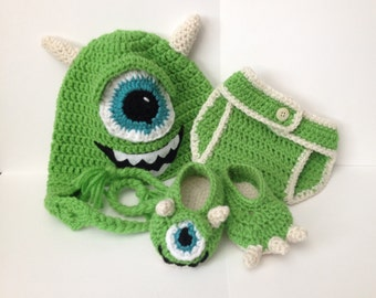Mike Wazowski Baby Outfit - Photo Prop - Newborn to 12 Months