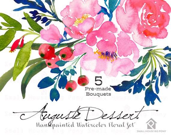 Digital Clipart- Watercolor Flower Clipart, peonies Clip art, Floral Bouquet Clipart- Auguste Dessert LARGE Bouquets