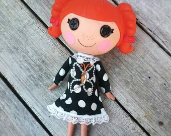 Long Sleeve Handmade Party Dress for LalaLoopsy ~ Fits Large LalaLoopsy Dolls~ Pretty Lacy Polka-dot Dress~Jewel Butterfly