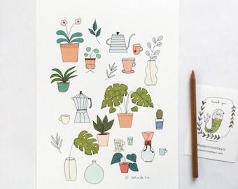 Illustration thé, café et plantes, cactus, monstera, cafetière, illustration, poster, affiche, décorer vos murs, plantes