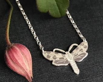 Handmade Sterling Silver Small Six-spot Burnet Moth Necklace