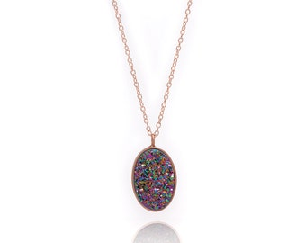 Druzy Necklace - Large Druzy Pendant Necklace - Peacock Druzy in Rose Gold Necklace - Big Druzy Chain Necklace - Oval Druzy