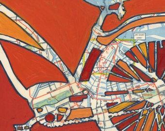 Amsterdam - medium print - 13x13 & 16x16 bike print - bicycle art featuring Amsterdam, Netherlands, Vondelpark, Oosterpark, bike print gift
