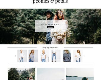 "Blogger Template ""Peonies & Petals"" // Instant Digital Download Premade Blog Theme Design"
