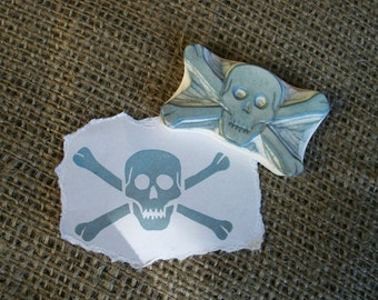 Skull and Cross Bones Rubber Stamp Hand Carved