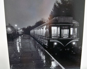 Train to Bury scene black and white print