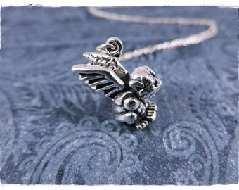 Gargoyle necklace etsy silver gargoyle necklace sterling silver gargoyle charm on a delicate sterling silver cable chain or aloadofball Gallery