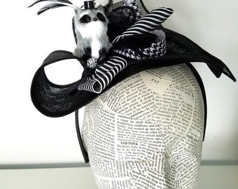 Black and White Bandit : Ladies Hat with Racoon Detail, Fashion, Derby, or Easter