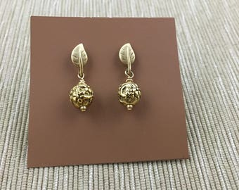 Gold Plated Filigree Ball Earrings on Leaf Studs with Post