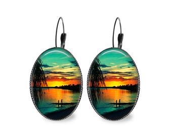Florida Sunset Oval Earrings