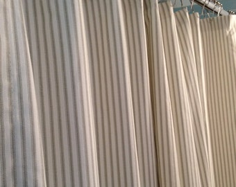 Gray Ticking Stripe Fabric Shower Curtain 72x84 - reserved listing