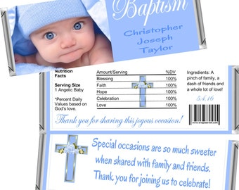 Baptism Candy Bar Wrapper / Christening Candy Bar Wrappers ~ Candy Bars or Candy Wrappers Only ~ Hershey Chocolate Bar (SET OF 12) FREE Foil