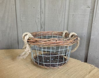 Vintage basket/ vintage wire basket with jute handles/ jute handles in wire basket/ twig and wire basket/ twig basket/ twig,wire,jute basket