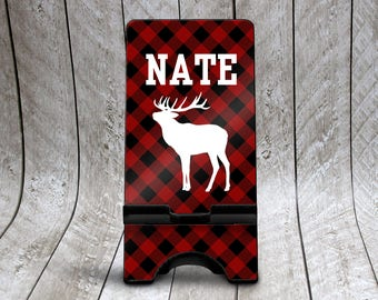 Buffalo Check Phone Stand, Plaid Custom Phone Stand, Personalized Phone Dock