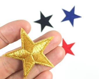 """Star Patch -GOLD- Iron-on Patch - Medium Size - Embroidery - Appliqué - Size: 1.5"""" x 1.5"""" (P075-G)"""
