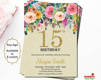 15th birthday invitation etsy quinceanera invitation 15th birthday invitation surprise birthday invitation floral birthday invitation gold filmwisefo Image collections