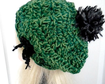CROCHET PATTERN - Green Beret Tam Hat, teens and adult, one size, 30 minute project, #899