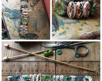 Vintage Bracelet, Spring Bracelet, Southwest Bracelet, Button Bracelet, Green Bracelet, Hemp Bracelet