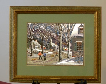 Paul Detlefsen Color-Etched Metallic Foil Vintage Four Seasons Lithograph Prints