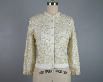 Vintage 1950s White Acrylic Sweater with Sequinned Lace Overlay Size M/L